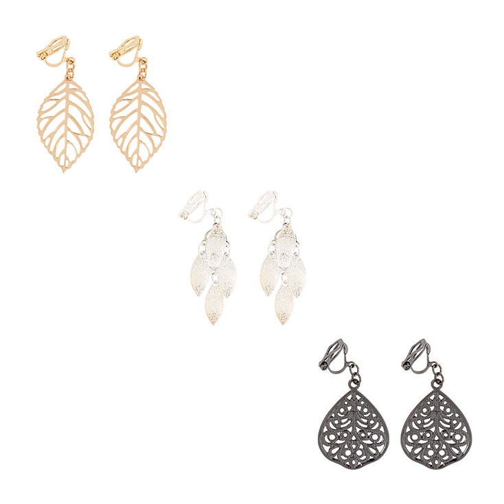 Filigree Leaves Clip-on Drop Earrings Set,