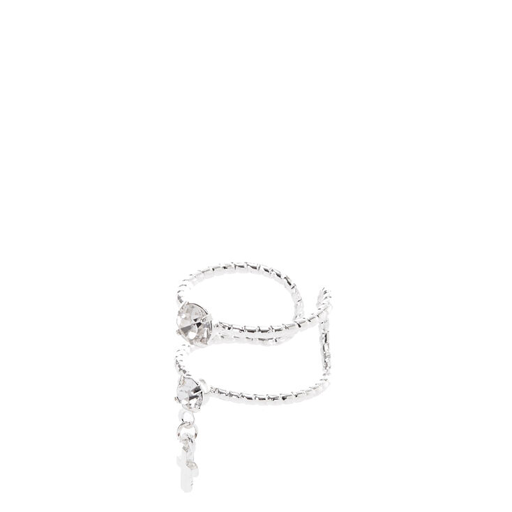 Double Banded Silver Cross Ring,