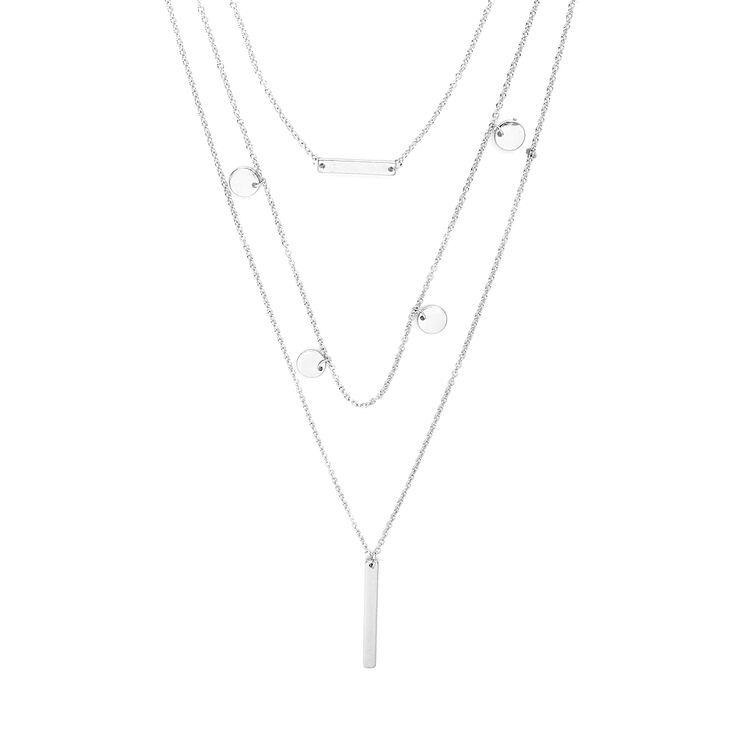 Silver Bars & Coins Layered Pendant Necklace,