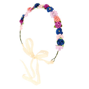 Pink, Purple, and Blue Cluster Flower Crown Headwrap,
