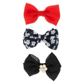 Floral Chiffon Mini Bow Hair Clips,