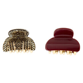 Aztec & Burgundy Hair Claws,
