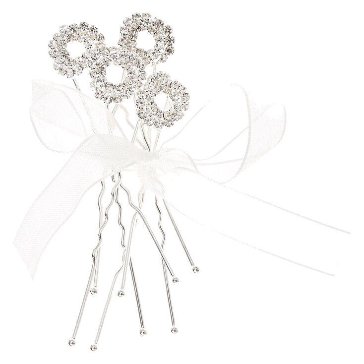 Silver Sparkle Knot Hair Pins,