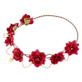 Gold Chain Burgundy Flower Crown Headwrap,