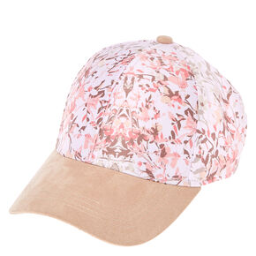 Pink Floral Satin Baseball Cap,