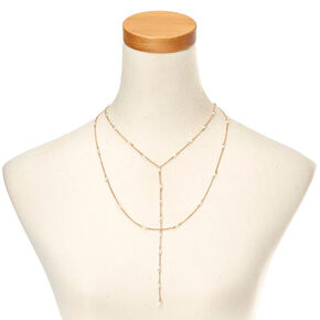 Gold-Tone Double Layer Long Necklace with Faux Pearls,