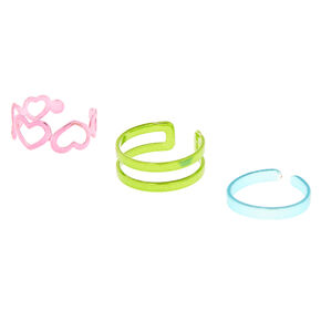 Bright Metallic Rainbow Toe Ring Set,