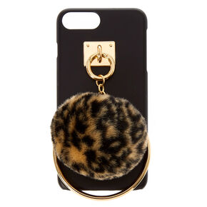 Leopard Pom Pom & Ring Phone Case,
