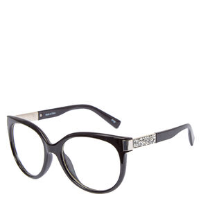 Black Cat Eye Fancy Arm Fake Glasses,