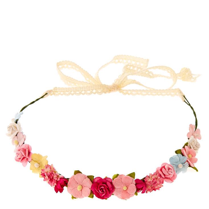 Pink & White Cluster Flower Crown Headwrap,