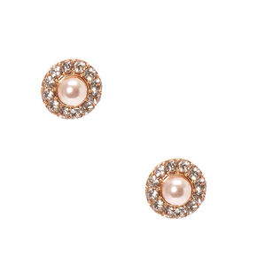 Blush Faux Pearl Pavé Stud Earrings,