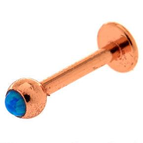 Blue Opal Rose Gold Labret Bar,