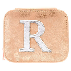 """Blush Pink """"R"""" Initial Jewelry Case,"""