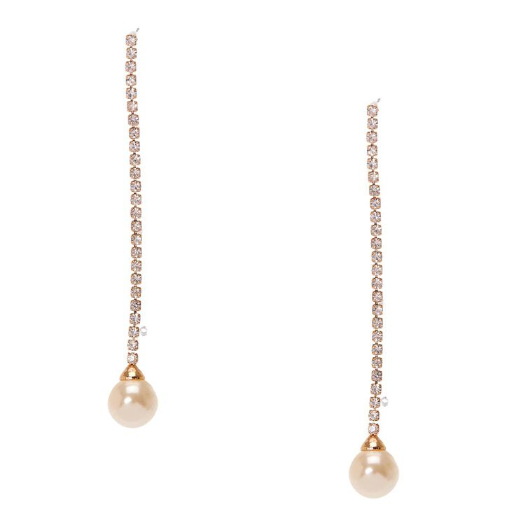 Gold Tone Linear Ivory Pearl Drop Earrings,