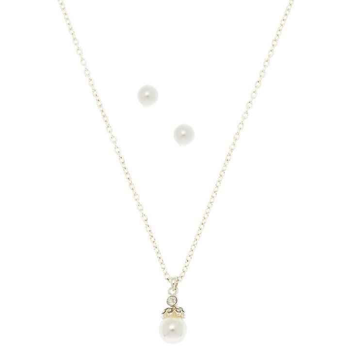 Crystal Crowned Pearl Pendant & Stud Earrings Set of 3,