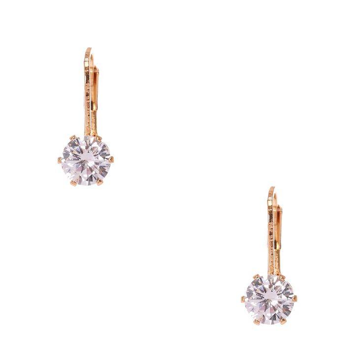 Cubic Zirconia Gold-tone Mini Hoop Earrings,