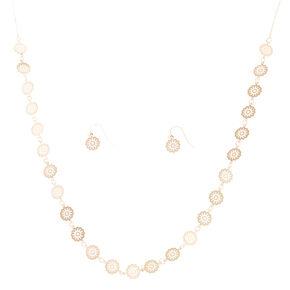 Rose Gold-Tone Filigree Disc Jewelry Set,