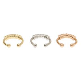 3 Pack Mini Mixed Metal Faux Nose Rings,