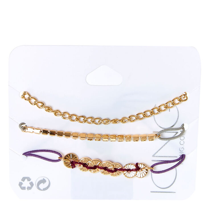 Gold Tone Stretch Bracelet Trio,