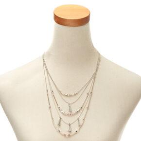 Multi-Strand Pink Beaded Tassel Necklace,