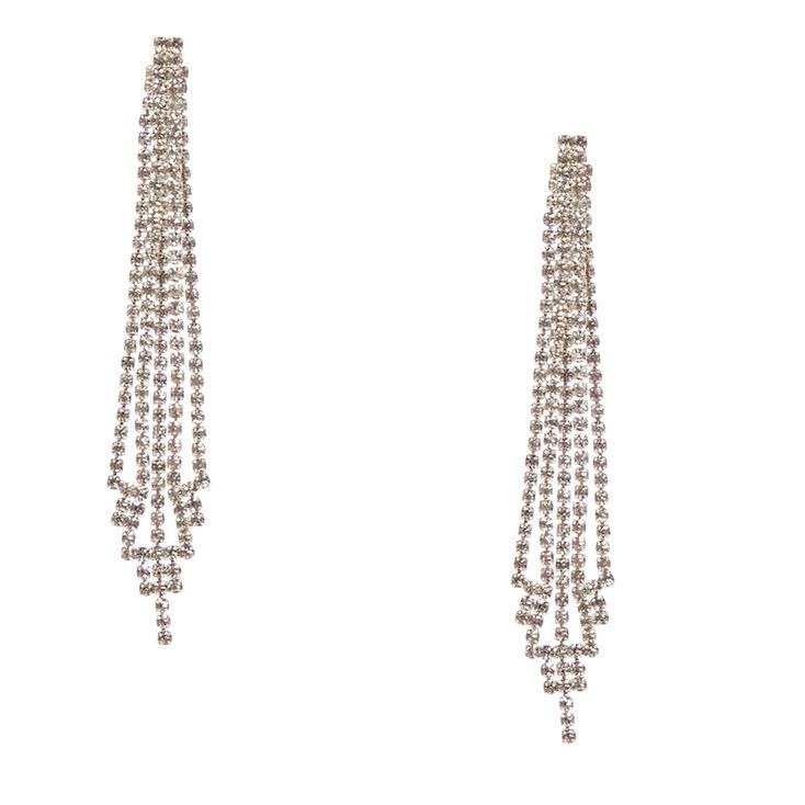 Clear Faux Crystal Skyscraper Drop Earrings,
