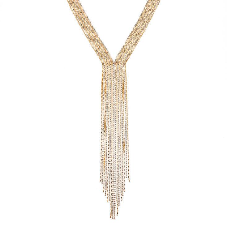 Gold Fringe Crystal Necklace,