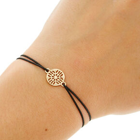 Black Double Stretch Bracelet with Filigree Charm,