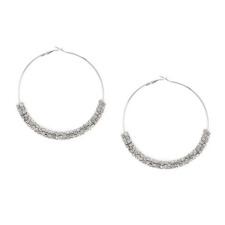 80MM Silver & Crystal Eternity Ring Hoop Earrings,
