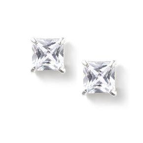 5MM Square Cut Cubic Zirconia Infinity Set Stud Earrings,