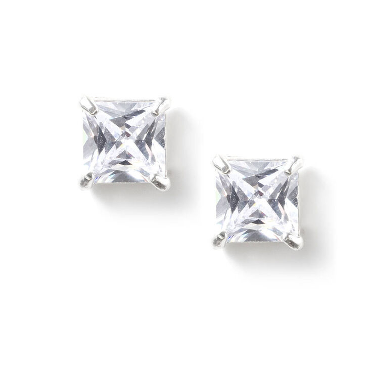 5MM Square Cut Cubic Zirconia Infinity Set Stud Earrings,