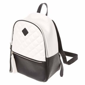 Faux Leather Black And White Tassel Backpack,