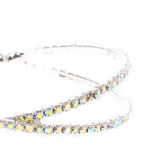 Prismatic Rhinestone Criss Cross Bracelet,