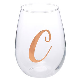 "Rose Gold-Tone ""C"" Initial Stemless Wine Glass,"