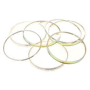 7 Pack Holographic Silver-Tone Bangle Bracelets,