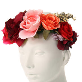 Rosy Red Oversized Flower Crown Headwrap,