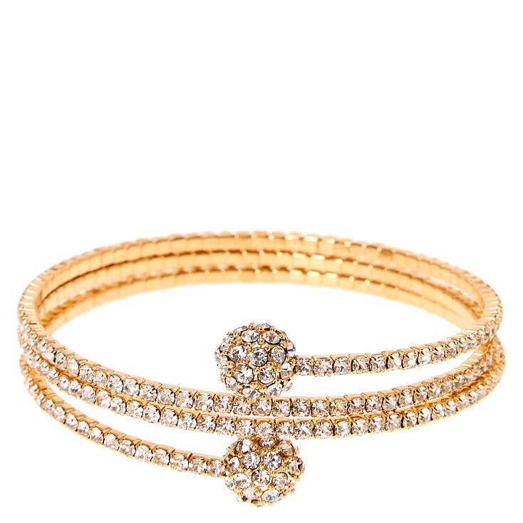 Gold Tone Faux Crystal Fireball Coil Bracelet,