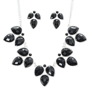 Black Leaf Statement Necklace and Earring Set,