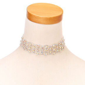 Iridescent Silver Crystal Choker Necklace,