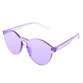 Rimless Purple Tinted Transparent Sunglasses,