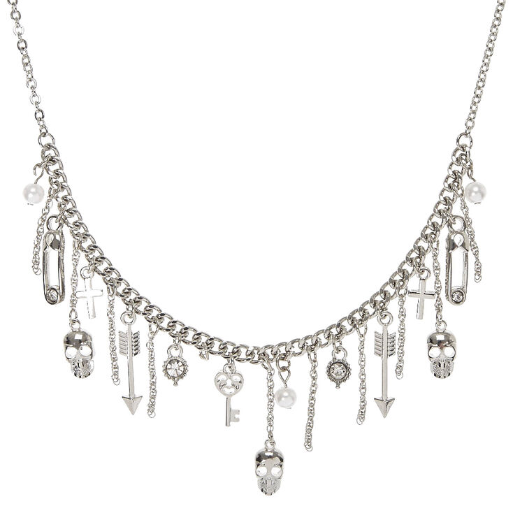 Silver-Tone Edgy Charm Necklace,