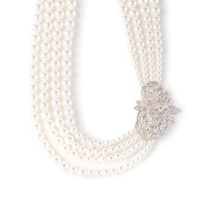 Multi-Strand Pearl Necklace with Vintage Pavé Crystal Roses,