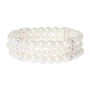 Ivory Pearl Triple Row Stretch Bracelet with Silver & Crystal Bands,