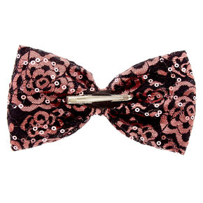 Pink Sequin Lace Bow Hair Clip,