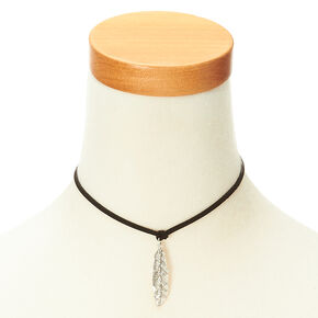 Velvet Silver Leaf Choker Necklace,