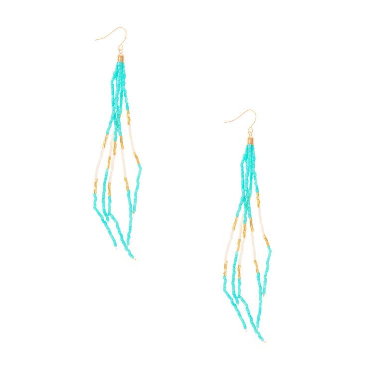 Turquoise Long Bead Tassel Drop Earrings,