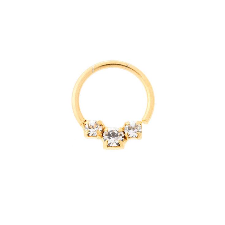 20G Sterling Silver Gold & Graduated Crystal Cartilage Hoop Earring,