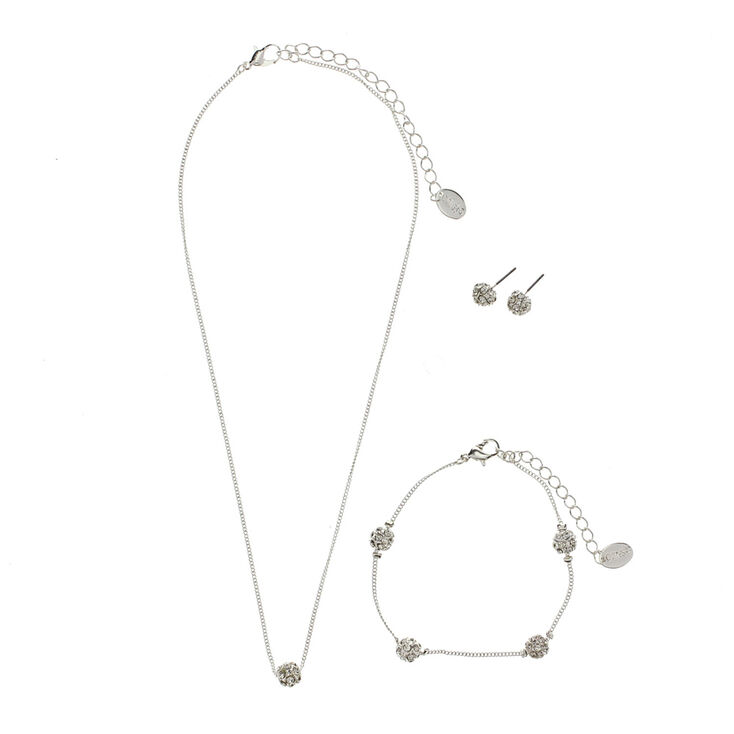 3 Piece Silver Fireball Jewelry Set,