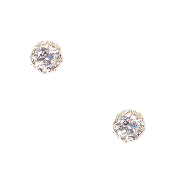 Sterling Silver 3mm Cubic Zirconia Studs,