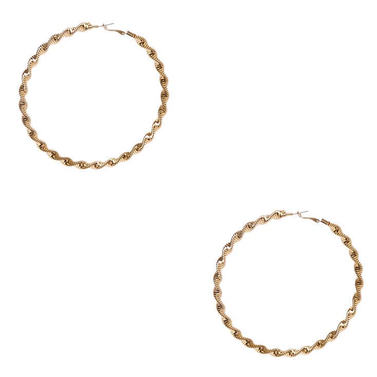 100mm Twisted Roped Gold Tone Hoop Earrings,