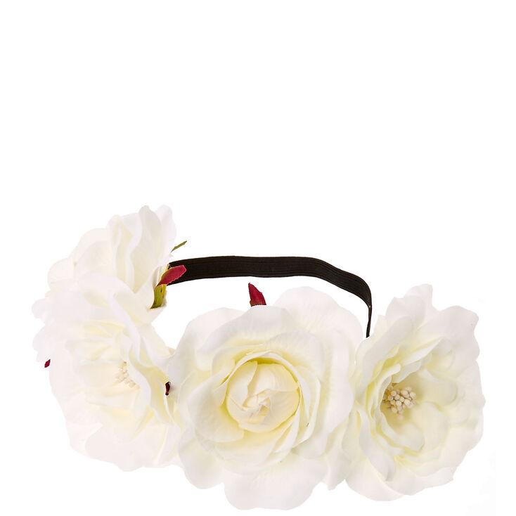 White Floral Stretch Flower Crown,